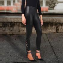 Sexy High Waist PU Bright Punk Leather pants