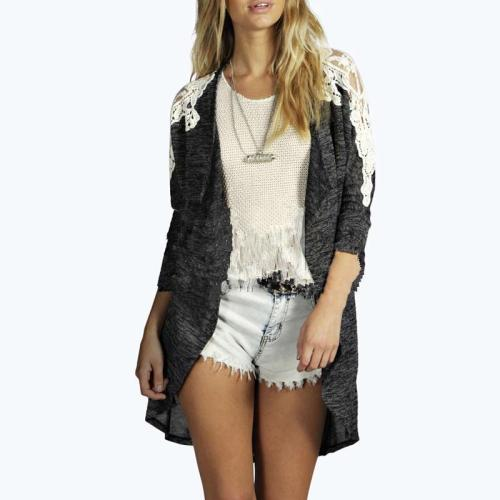 Lace Patchwork Long Sleeve Casual Cardigans