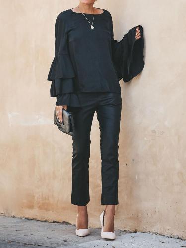 Fashion Bare Back Lace   Ruffled Long Sleeve Top