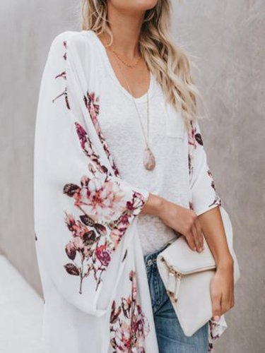Printed Three-Quarter Sleeve Floral Cardigan