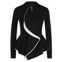 Fungus Edge Zipper Long-Sleeved Suit Blazer