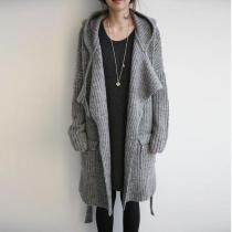 Long Hooded Loose-Fitting Cardigans