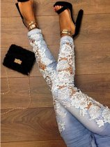 Decorative Lace Plain Slim-Leg Mid-Rise Pants