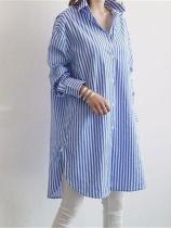 Fashion Long Sleeve Loose Strips Shirt