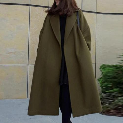 Army Green Korean Style Simple Solid Warm Long Coat
