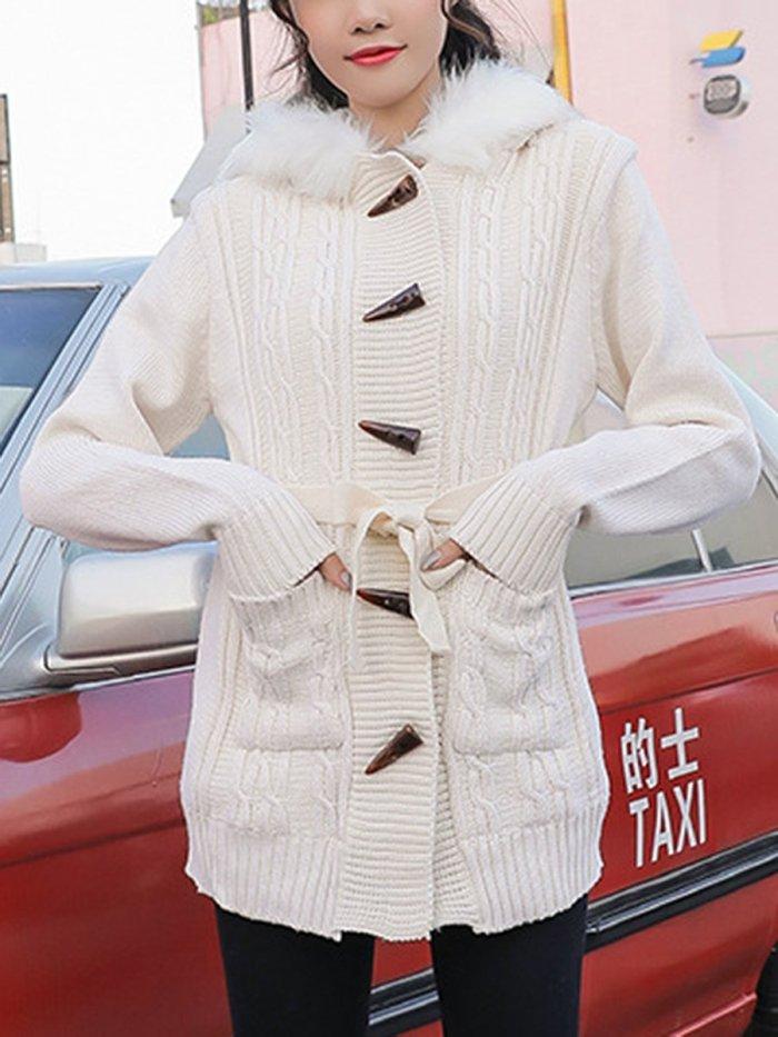 Hooded Patch Pocket Single Breasted Belt Coat