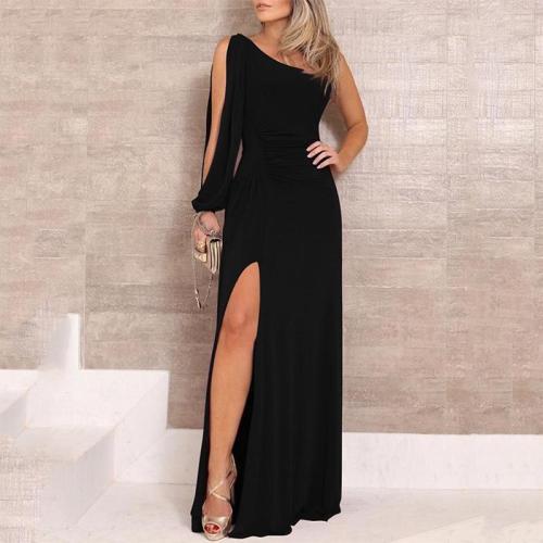 Sexy Pure Colour Single Shoulder Slit Maxi Dresses