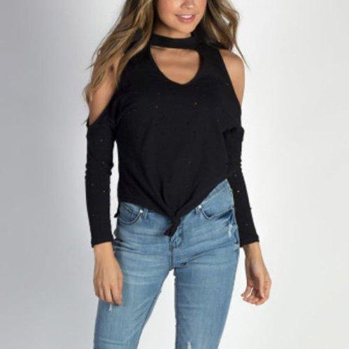 Open Shoulder  Back Hole  Plain T-Shirts