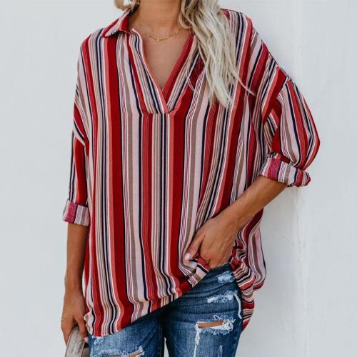 Fashion Sexy V-Neck Striped Long-Sleeved Blouses