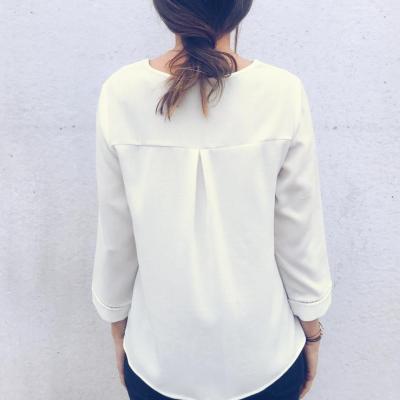 Sexy Deep V Collar Pure Color Slim Shirt