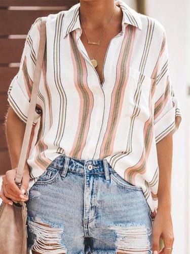 Stylish Sexy Lapel Stripe Short Sleeve Shirt