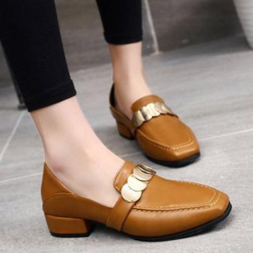 Square Toe Slip On Low Heel Women's Loafers