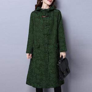 Hooded Single Breasted Print Vintage Coats