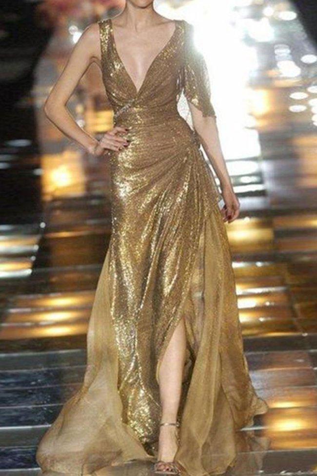 Gorgeous Deep V Collar Sleeveless Sequin Slim Evening Dress