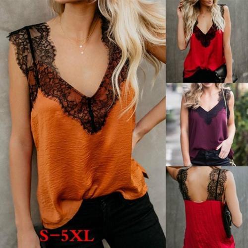 Fashion Loose Lace Lace Sleeveless Strapless T-Shirt