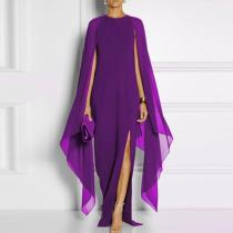 Long-Sleeved Cape Open Sleeve High Slit Plain Chiffon Evening Dresses