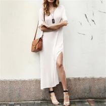Cotton And Hemp V Neck Split Dress