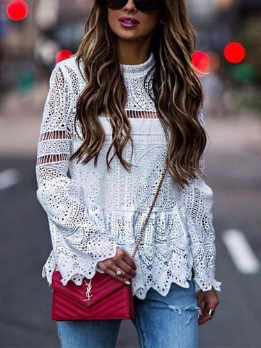 Fashion Lace Bell Sleeve Hollow Out Shirt