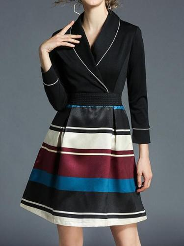 Ladies New Stripe Printing Hit Color Long Dress