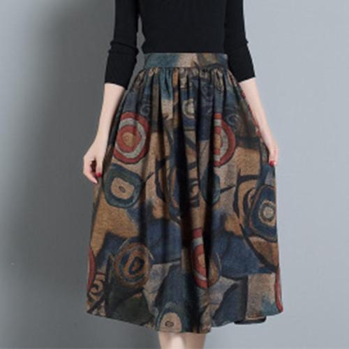 Graffiti Woolen Pocket Flared Women Skirt