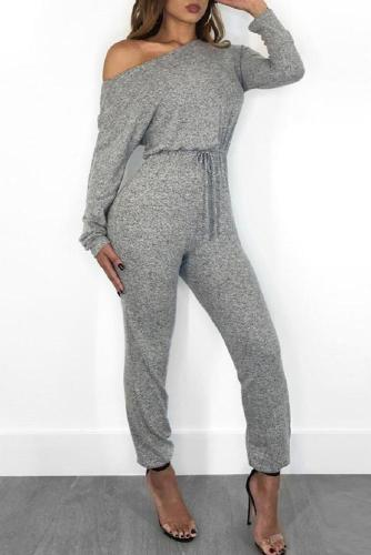 Sexy Sloping Shoulder Pure Colour Jumpsuits