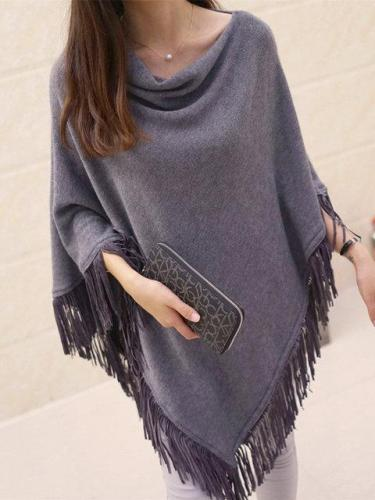 Cape Sleeve Casual Cowl Neck Asymmetrical Winter Fringed Poncho