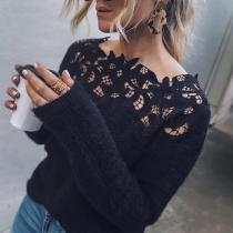 Asymmetric Neck  Decorative Lace  Plain Sweaters