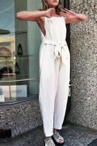 Round Neck  Slit  Plain  Sleeveless Jumpsuits