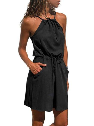 Halter Belt Sleeveless Casual Dresses