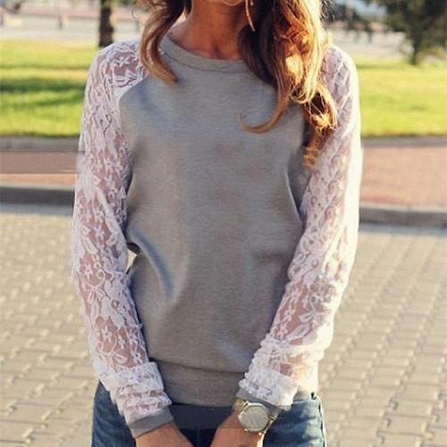 Lace Stitching Loose Hoodie