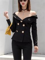 Solid Color Irregular Collar Double-Breasted Suit