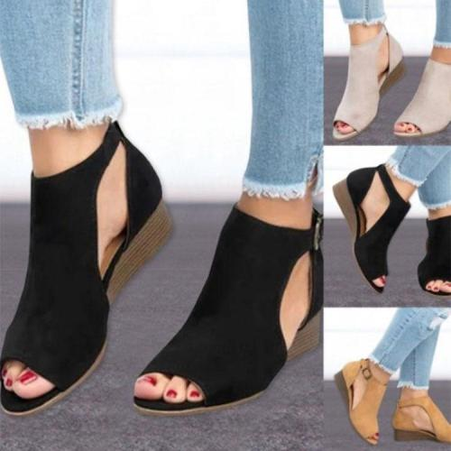 Sexy Pure Color Wedge Fish Mouth Sandals