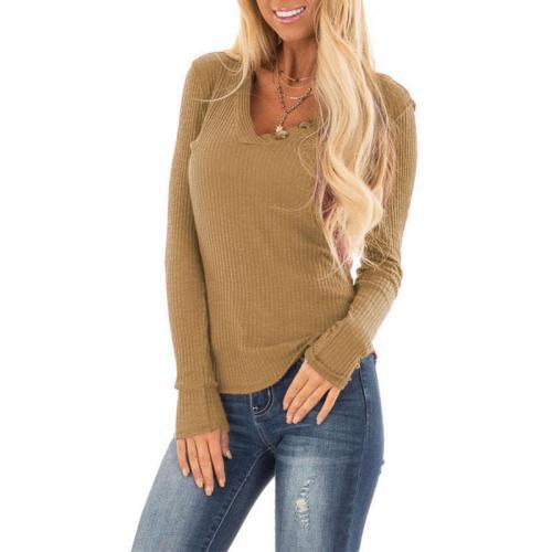 V Neck Button Long Sleeve Knitting T-Shirts