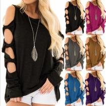 Round Neck Sexy Hollow Out Long Sleeve T-Shirts
