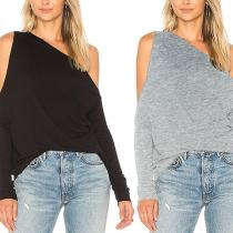 Off Shouder Casual Soft Long Sleeve T-Shirts