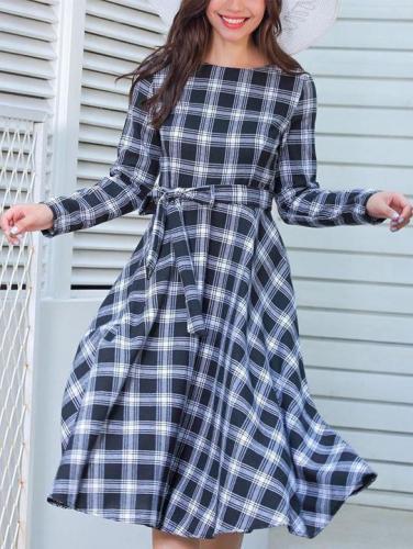 Plaid Bow Tie Evening Dress