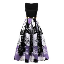 Women Printed Sleeve Less Evening Dress