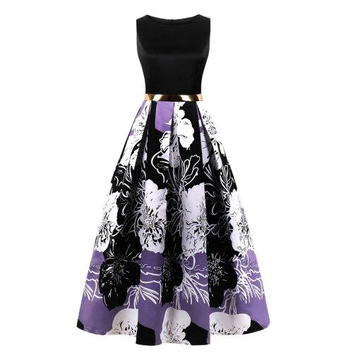 Women Printed Sleeve Less Evening Dress