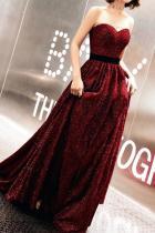 Sexy Off-Shoulder Pure Colour Waist Evening Dress