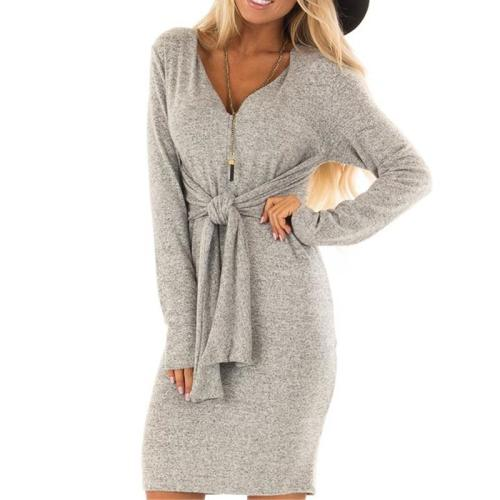 V Neck Long Sleeve Plain Knot Knitting Bodycon Dress