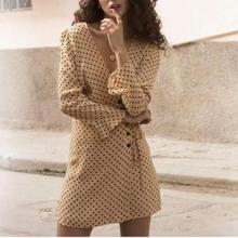 Vintage Polka Dot V Neck Long Sleeve Mini Dresses