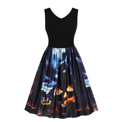 Plus Size Halloween Sleeve Less Round Neck Skater Dress