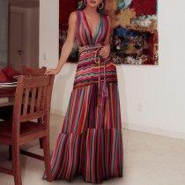 Deep V-Neck  Floral Printed Maxi Dresses