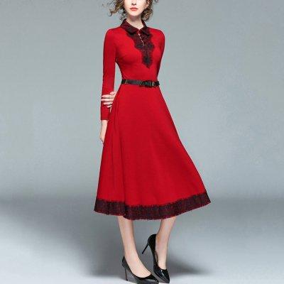 Lace Splicing Slim Evening Dress