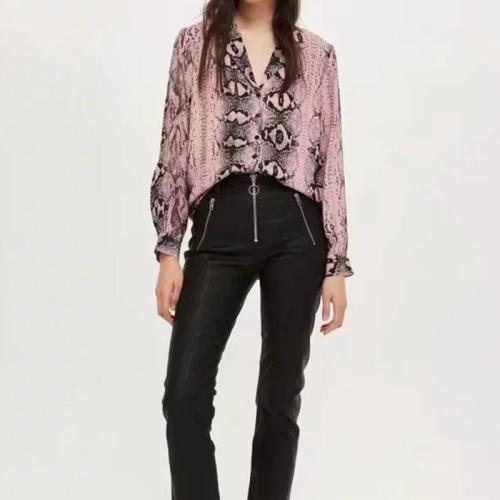 Lapel V Neck Long Sleeve Printed Casual Blouses