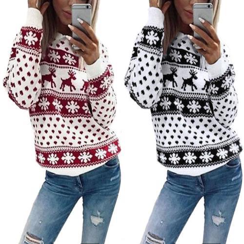Casual Elk Printed Long Sleeve Sweatshirt