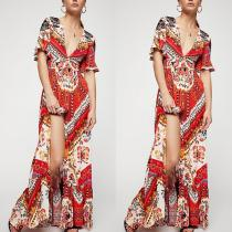 Deep V Neck Ruffles Printed Sexy Backless Maxi Dress