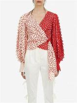Fashion V collar lantern sleeve printing contrast color asymmetrical shirt