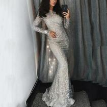 Fashion Sexy Sequins   Evenig Party Maxi Bodycon Dresses