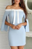 Sexy Boat Neck Bow Off-Shoulder Slit Mini Dresses